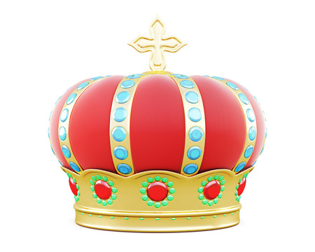 jeweled: Royal crown isolated on white background. 3d illustration.