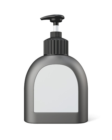 receptacle: Bottle with pump isolated on a white background. 3d rendering