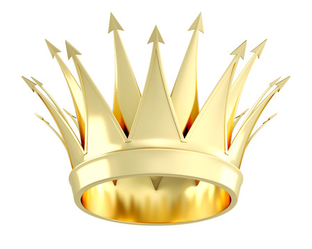 Golden crown isolated on white background. 3d illustration. Stock Photo