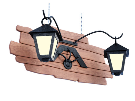 Lights on a wooden sign. 3d illustration isolated on white background
