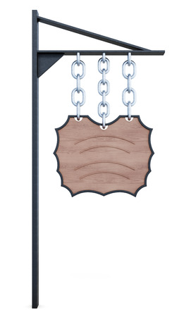 antiquated: Sign hanging on the chain. 3d illustration on white background.