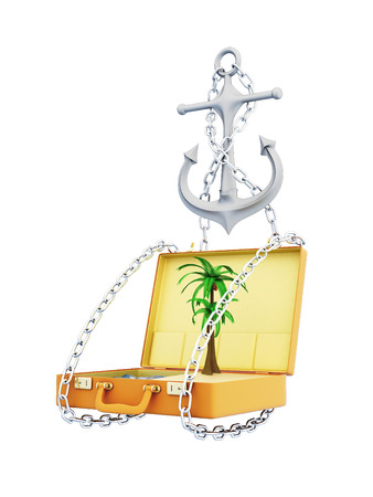 caribbean cruise: Conceptual image of a sea cruise. 3d illustration on a white background.
