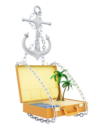 conceptual image: Vacation at sea. Conceptual image. 3d illustration on white background Stock Photo