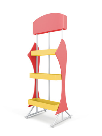 Stand with shelves for goods. 3d illustration on white background