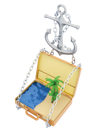 caribbean cruise: Open suitcase with beach and sea inside. 3d illustration on a white background. Stock Photo