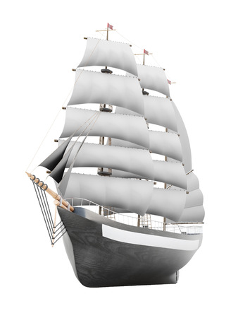 brigantine: Sailing ship model on a white background. 3d rendering.
