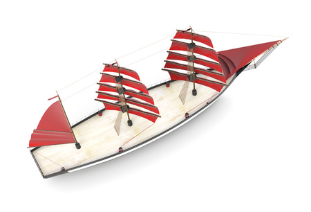 Sailboat top view on a white background. 3d rendering. Stock Photo