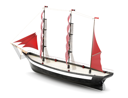 Sailboat isolated on a white background. 3d rendering.