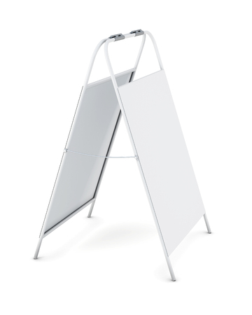 White advertising stand isolated on white background. 3d rendering.