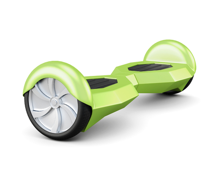 緑のセルフ バランス スクーター。3 d レンダリング。 写真素材