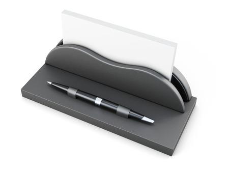 businesslike: Business card holder with pen on white background. 3d rendering.