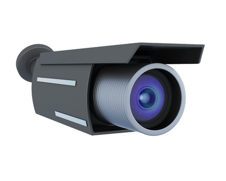 nightvision: Black security camera isolated on white background. 3d rendering. Stock Photo