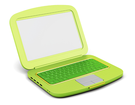 an open space: Green laptop isolated on white background. 3d rendering.
