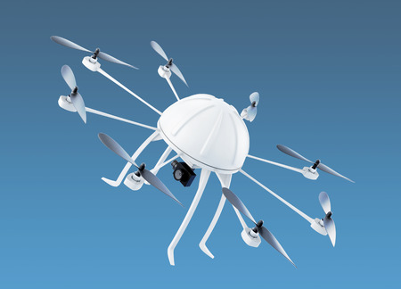 Quadcopter in the sky. 3d rendering.