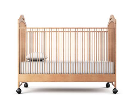 木製ベッドは、白い背景で隔離。3 d レンダリング。
