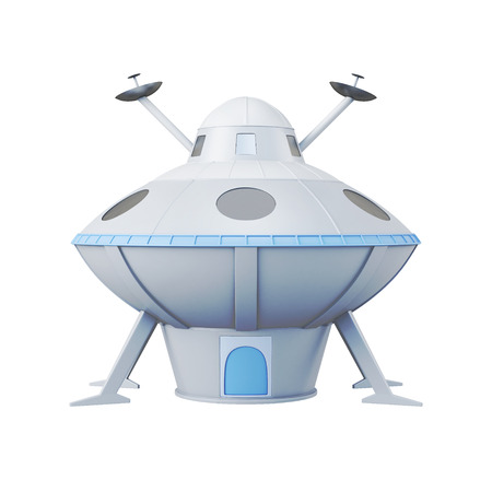 unidentified flying object: UFO isolated on white background. 3d rendering.