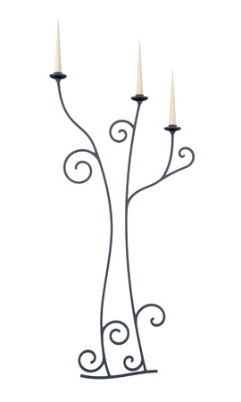 tendrils: Candlestick isolated on a white background. 3d rendering. Stock Photo