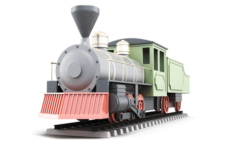 Model of old steam locomotive isolated on white background. 3d rendering. Stock Photo
