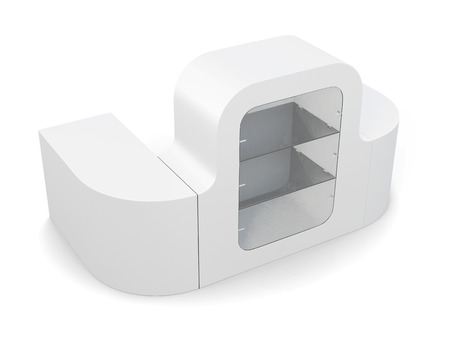 countertop: Blank counter with showcase isolated. 3d rendering.
