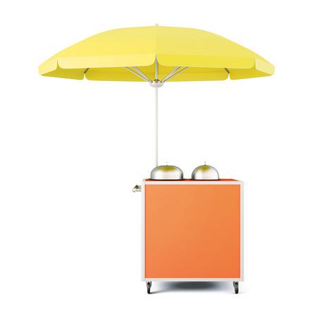 Mobiele kar met geïsoleerde paraplu. 3D-rendering.