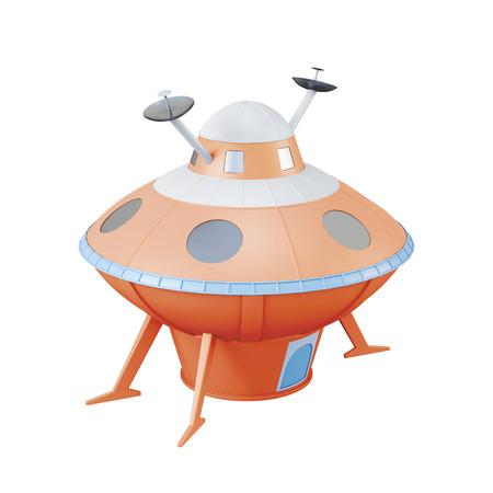 unidentified flying object: Orange UFO isolated on white background. 3d rendering. Stock Photo