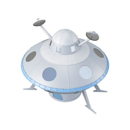 space station: Flying object isolated on white background. 3d rendering.