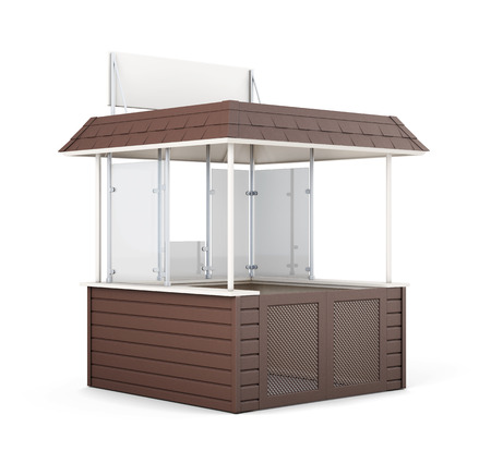 newsstand: Brown promo counter isolated. 3d rendering.