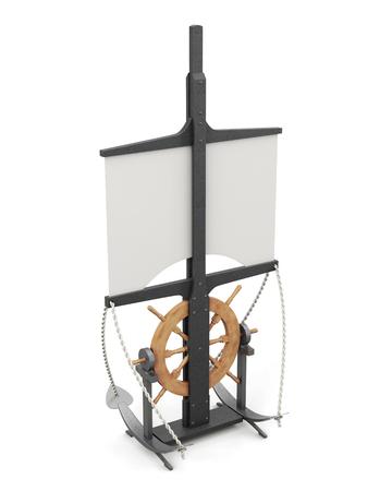 Zeevaart symbolen geïsoleerd op een witte achtergrond. Mast, zeil, anker, stuurwiel. 3D-rendering. Stockfoto