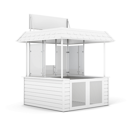 newsstand: Single trade or promo counter isolated. 3d rendering.