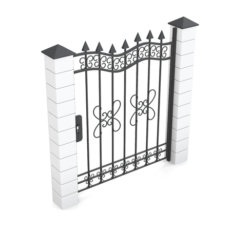 metal gate: Metal gate isolated on white background. 3d rendering.