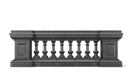 Front view stone balustrade on white background. 3d rendering. Stock Photo