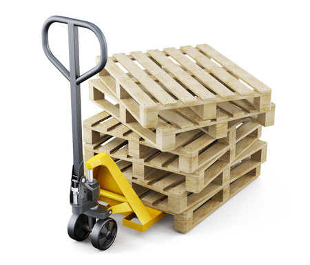 Forklift and pallets isolated on white background. 3d rendering.