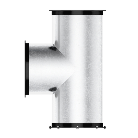 vent: Pipe tee isolated on a white background. 3d rendering. Stock Photo