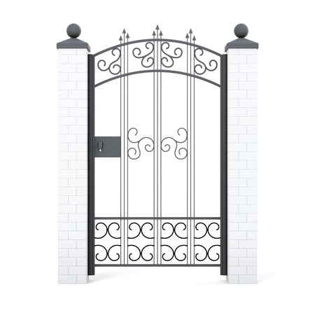 wicket door: Forged gate with ornament. 3d rendering. Stock Photo