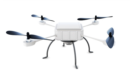 Drone with camera isolated on white background. 3d rendering. Stock Photo