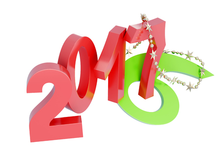 the turn of the year: Replace 2017 2016 isolated on white background. 3d rendering.