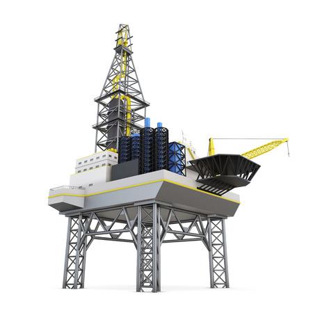 Boren offshore-platform geïsoleerd. 3D-rendering.