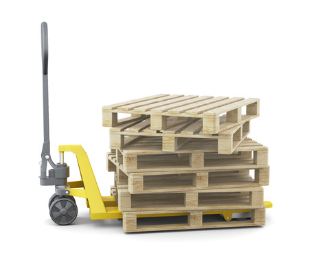 euro pallet: Pallets on the truck isolated on a white background. 3d rendering.