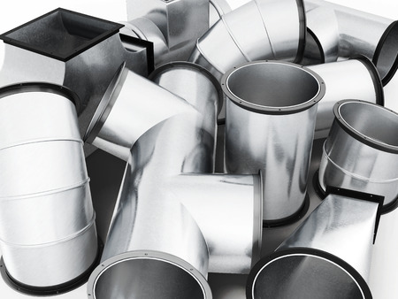 fittings: Duct fittings closeup. 3d rendering. Stock Photo