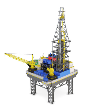 swapping: Industrial platform offshore isolated. 3d rendering.