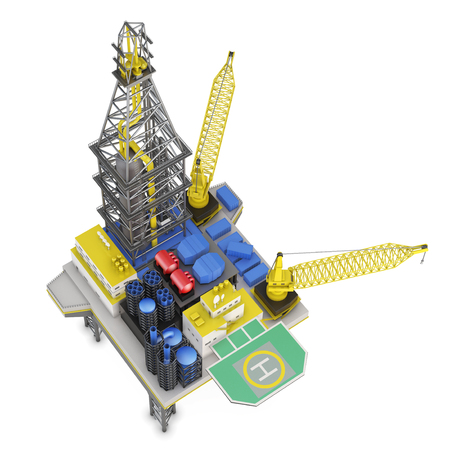 Drilling offshore platform top view isolated. 3d rendering. Stock Photo