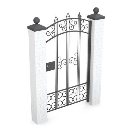 wicket gate: Forged gate isolated on white background. 3d rendering.