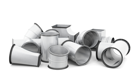 fittings: Pipe fittings isolated on a white background. 3d rendering. Stock Photo