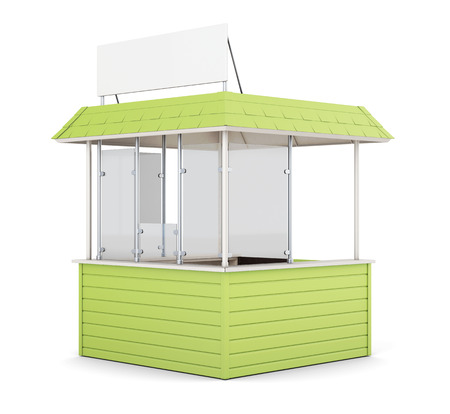 newsstand: Green promo counter isolated. 3d rendering.