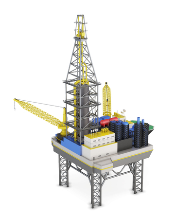 Drilling offshore platform isolated. 3d rendering. Stock Photo