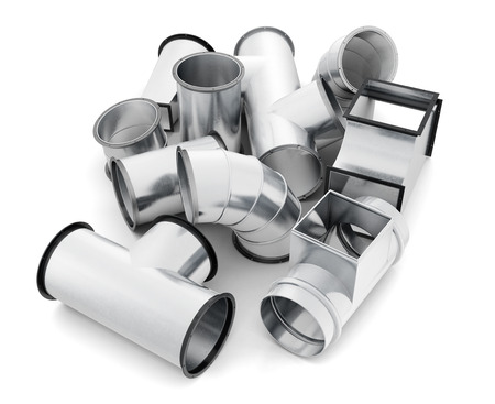 Duct fittings isolated on a white background. 3d rendering. Standard-Bild