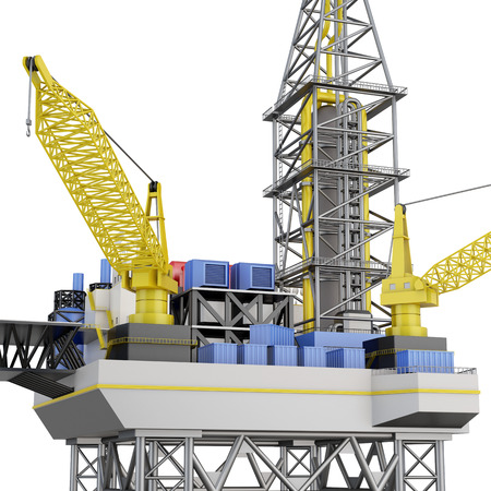 Drilling offshore platform closeup isolated. 3d rendering. Stock Photo