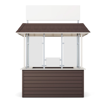 newsstand: Brown kiosk isolated on a white background. 3d rendering.