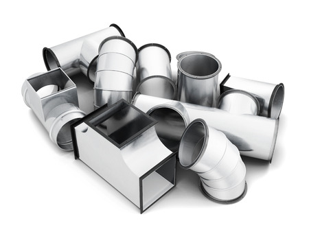 zinc: Steel pipe fittings isolated on a white background. 3d rendering.
