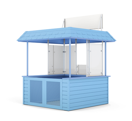 newsstand: Blue promo counter isolated. 3d rendering.
